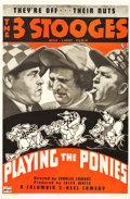 "Movie Posters:Comedy, The Three Stooges in Playing the Ponies (Columbia, 1937). One Sheet(27"" X 41"").. ..."