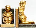 Books:Furniture & Accessories, [Bookends]. Pair of Matching Metal Bookends by Ronson DepictingAsian Children in a Book Motif. No date, circa 1930. ... (Total: 2Items)