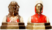 [Bookends]. Pair of Painted Metal Bookends with Copper Finish Depicting Dante and Beatrice. [Ronson], circa 1923
