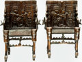 Books:Furniture & Accessories, [Bookends]. Pair of Matching Metal Bookends with Copper FinishDepicting Egyptian Thrones. Unsigned, undated. ... (Total: 2 Items)