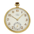 Timepieces:Pocket (post 1900), E. Gubelin Lucerne Swiss 14k Gold Open Face Pocket Watch . ...