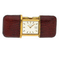 Timepieces:Other , Movado Mini 18k Gold & Leather Purse Watch. ...