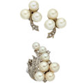 Estate Jewelry:Lots, Cultured Pearl, Diamond, White Gold Jewelry. ... (Total: 2 Items)