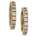 Estate Jewelry:Earrings, Diamond, Gold, White Gold Earrings. ...