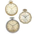 Timepieces:Pocket (post 1900), A Lot Of Three Pocket Watches Lord Elgin Is 14k Gold Runners. ... (Total: 3 Items)