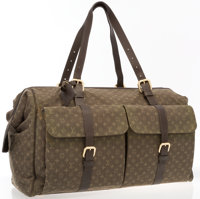 "Louis Vuitton Green Mini Lin Monogram Canvas Claudine Bag Good to Very Good Condition 20"" Width x"