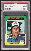 Baseball Cards:Singles (1970-Now), 1975 Topps Mini Marty Perez #499 PSA Mint 9....