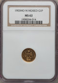 Mexico, Mexico: Republic gold Peso 1903 Mo-M MS62 NGC,...