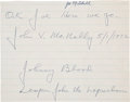 Football Collectibles:Others, 1972 Johnny Blood McNally Signed and Inscribed Sheet....