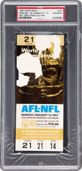 Football Collectibles:Tickets, 1967 Super Bowl I Full Ticket, PSA Authentic....