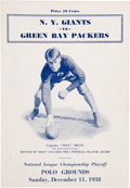 Football Collectibles:Programs, 1938 NFL Championship Game Program - Giants Over Packers. ...