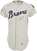 Baseball Collectibles:Uniforms, 1969 Hank Aaron Game Worn Atlanta Braves Jersey, MEARS A10....