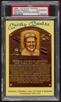 Baseball Collectibles:Others, Mickey Mantle Signed HOF Plaque Postcard....