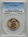 Washington Quarters: , 1941-S 25C MS67 PCGS. PCGS Population (58/0). NGC Census: (80/0).Mintage: 16,080,000. Numismedia Wsl. Price for problem fr...
