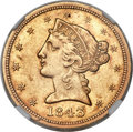 Liberty Half Eagles, 1843-O $5 Large Letters AU58 NGC. Variety 1....