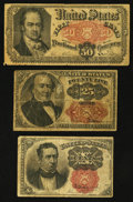 Fractional Currency:Fifth Issue, Fr. 1266 10¢ Fifth Issue Fine;. Fr. 1309 25¢ Fifth Issue VeryGood-Fine;. Fr. 1380 50¢ Fifth Issue Fine.. ... (Total: 3 notes)