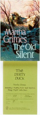 [Martha Grimes]. Pair of UNCORRECTED PROOFS. Titles include: The Dirty Duck. [together with:] <