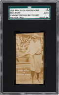 "Baseball Cards:Singles (Pre-1930), 1920 Babe Ruth ""Headin' Home"" Theatre Cards - Follow Through, Batto Left SGC Authentic. . ..."