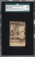 "Baseball Cards:Singles (Pre-1930), 1920 Babe Ruth ""Headin' Home"" Follow Through Bat to Left SGCAuthentic. ..."