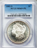 Morgan Dollars: , 1882-S $1 MS65+ Prooflike PCGS. PCGS Population (430/89). NGC Census: (608/187). Numismedia Wsl. Price for problem free NG...