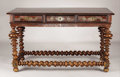 Furniture : Continental, A Portuguese Rosewood Center Table. Unknown maker, Portuguese. Circa 1840. Rosewood, mahogany, brass. Marks: none . 34.25 ...