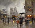 Fine Art - Painting, European:Contemporary   (1950 to present)  , EDOUARD LEON CORTES (French 1882-1969). Notre Dame. Oil oncanvas. 18-1/8 x 22 inches (46.0 x 55.9 cm). Signed lower lef...