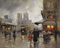 EDOUARD LEON CORTES (French 1882-1969) Notre Dame Oil on canvas 18-1/8 x 22 inches (46.0 x 55.9 c