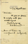 """Autographs:Military Figures, General Oliver Otis Howard Autograph Letter Signed """"O. O. Howard"""". One page, 5.5"""" x 8.25"""", on Howard's personal letterhe..."""