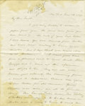 "Autographs:Military Figures, 1867 Autograph Letter With Travel and American Indian Content. Four pages, 6.5"" x 8"", New York, June 26, 1867, in ink. The s..."