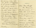 """Autographs:U.S. Presidents, First Lady Edith Roosevelt Autograph Letter Signed """"Edith KermitRoosevelt"""". Two pages, 4.5"""" x 7"""", on Sagamore Hill lett...(Total: 1 Item)"""