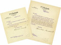 "Autographs:U.S. Presidents, Lot of Two Theodore Roosevelt Typed Letters Signed as the Editor of The Outlook ""Theodore Roosevelt"". The first lett... (Total: 2 Item)"