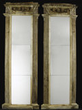 Furniture : Continental, A Pair of Italian Neoclassical Architectural Pier Mirrors. .Unknown maker, possibly Italian. 19th century. Carved and paint...(Total: 2 Items)