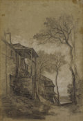 Fine Art - Painting, European:Antique  (Pre 1900), Attributed to ALEXANDRE GABRIEL DECAMPS (French 1803-1860).TITLE. Charcoal and white chalk on paper. 17-1/2 x 12inches...