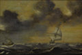 Fine Art - Painting, European:Antique  (Pre 1900), DUTCH SCHOOL (Seventeenth Century). Ships in a Storm. Oil onboard. 18 x 26-1/2 inches (45.7 x 67.3 cm). Unsigned. ...