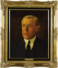 """Political:3D & Other Display (1896-present), Woodrow Wilson and Ellen Wilson Oil Portraits by Lawrence Williams. Each oil portrait is 16"""" x 20"""" and framed in gilt to an ... (Total: 2 Item)"""