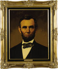"""Political:3D & Other Display (1896-present), Abraham Lincoln and Mary Todd Lincoln Oil Portraits by Lawrence Williams. Each oil portrait is 16"""" x 20"""" and framed in gilt ... (Total: 2 Item)"""