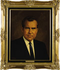 "Political:3D & Other Display (1896-present), Richard Nixon and Pat Nixon Oil Portraits by Lawrence Williams.Each oil portrait is 16"" x 20"" and framed in gilt to an over...(Total: 2 Item)"