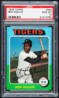 Baseball Cards:Singles (1970-Now), 1975 Topps Ben Oglivie #344 PSA Gem Mint 10 - Pop Two....