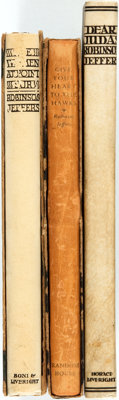 Robinson Jeffers. SIGNED/LIMITED. Group of Three Books. Various publishers, 1927-1933. Numbered, limited editions
