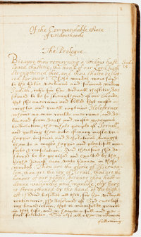 Seventeenth-Century Theological Manuscript. Author Unknown. Of the Commendable Estate of Widowhoode. </