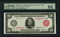 Large Size:Federal Reserve Notes, Fr. 953b $20 1914 Red Seal Federal Reserve Note PMG Choice Uncirculated 64.. ...