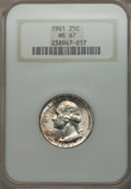 Washington Quarters: , 1961 25C MS67 NGC. NGC Census: (30/0). PCGS Population (5/0).Mintage: 37,000,000. Numismedia Wsl. Price for problem free N...