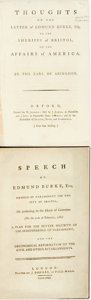 Books:Americana & American History, [Edmund Burke]. Pair of Books on Burke. Willoughby Bertie Abingdon. Thoughts on the Letter of Edmund Burke, Esq; to the ... (Total: 2 Items)