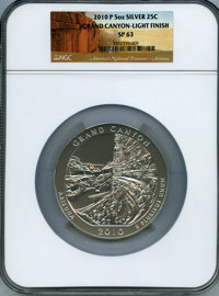 2010-P 25C Grand Canyon Five Ounce Silver, Light Satin Finish SP63 NGC. NGC Census: (0/0). PCGS Population (0/0)....(PCG...