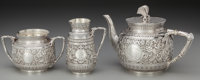 A Three Piece John Aldwinckle & James Slater Victorian Partial Gilt Silver Tea Service, London, England, circa 1883-...