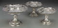 Silver Holloware, British:Holloware, A Set of Three John Aldwinckle & James Slater VictorianSterling Tazzas, London, England, circa 1881. Marks: (lionpassant),... (Total: 3 Items)