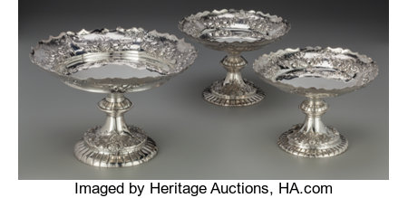 A Set of Three John Aldwinckle & James Slater Victorian Sterling Tazzas, London, England, circa 1881 Marks: (lion passant),... (Total: 3 )