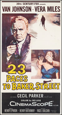 "23 Paces to Baker Street & Other Lot (20th Century Fox, 1956). Three Sheets (2) (41"" X 77.5"", 41.5&quo..."