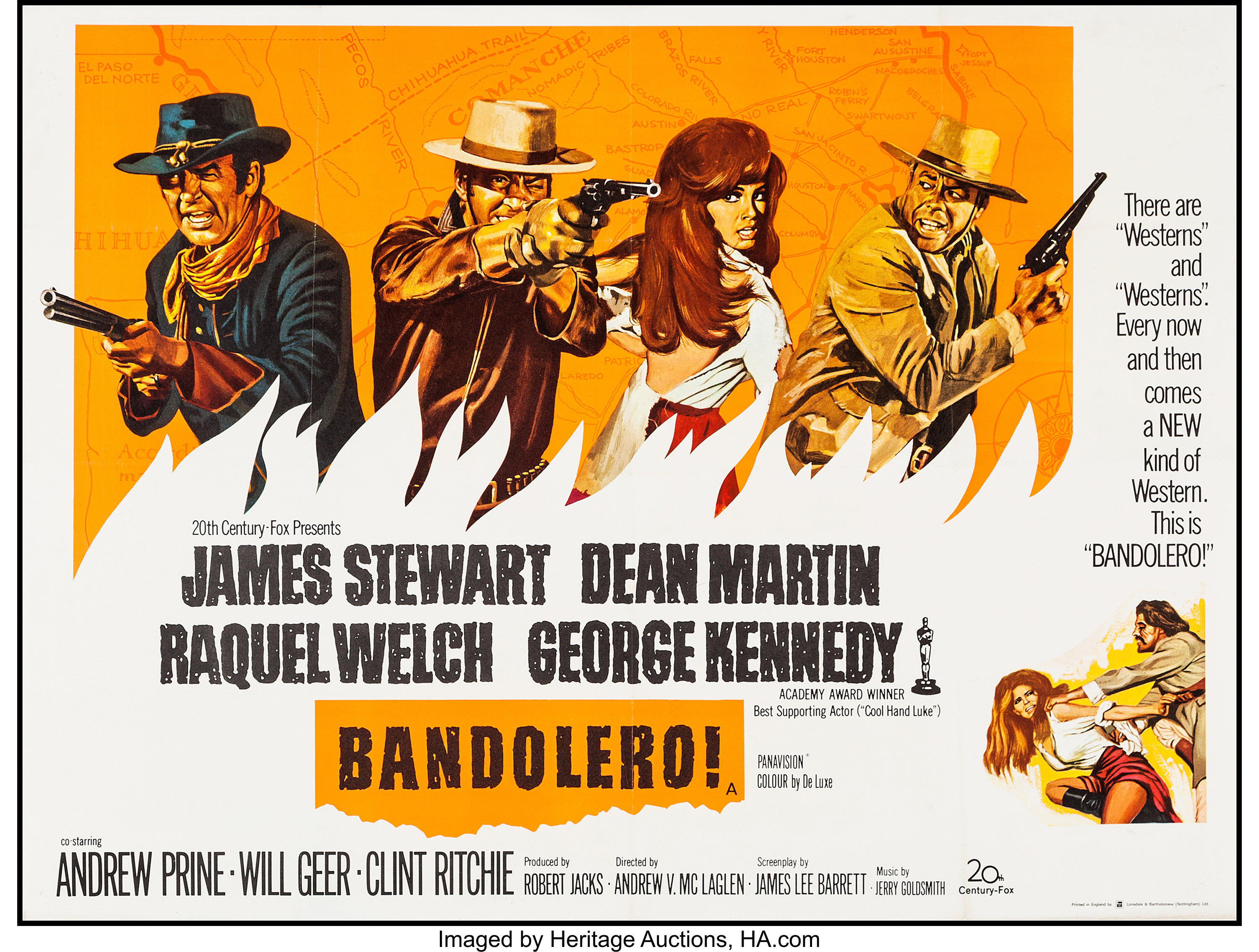 "Bandolero! (20th Century Fox, 1968). British Quad (30"" X 39.75 ..."
