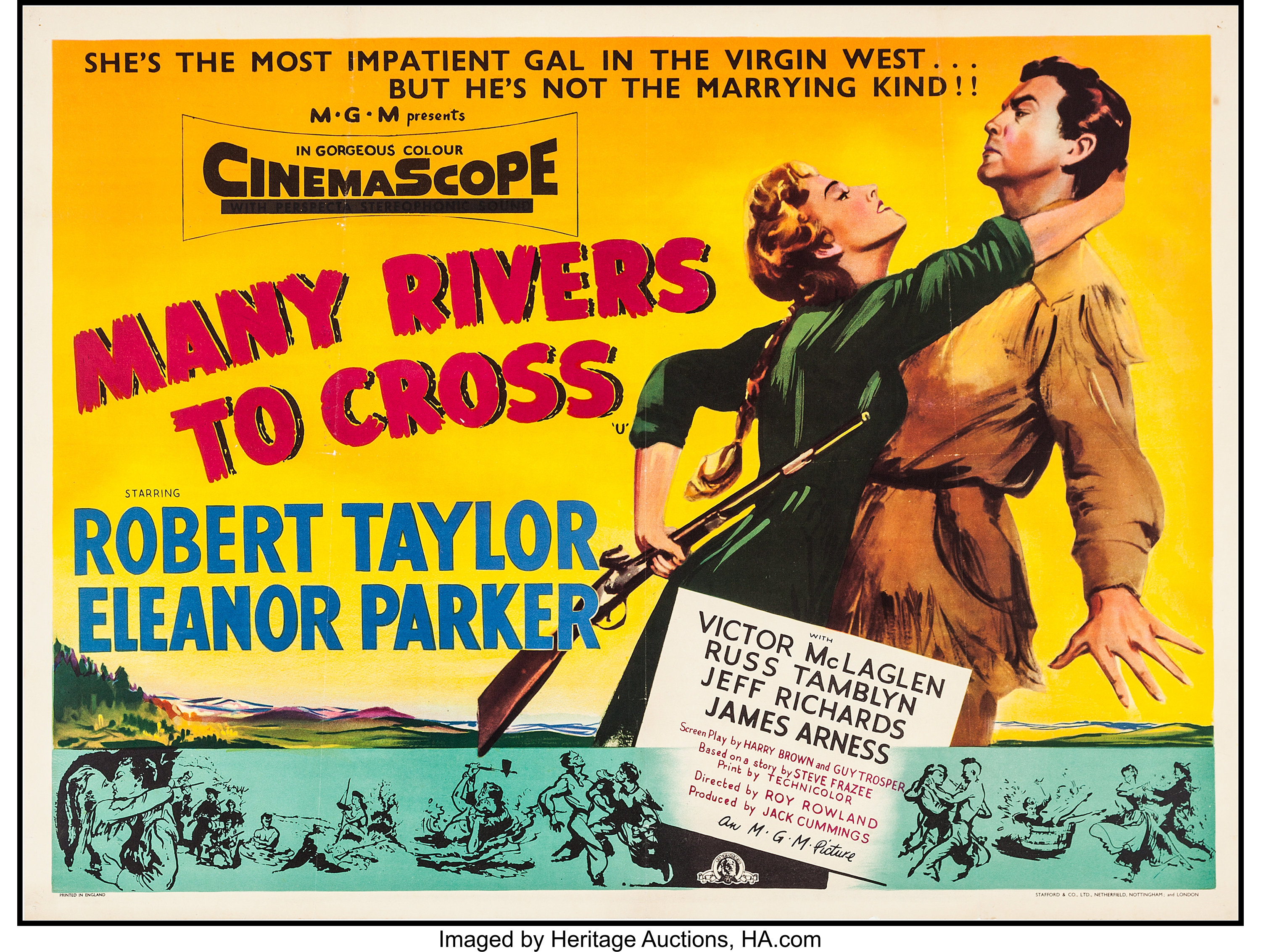 """Many Rivers to Cross (MGM, 1955). British Quad (30"""" X 39.75""""). 